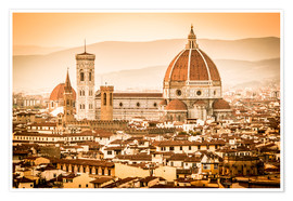 Premiumposter Cityscape with Cathedral and Brunelleschi Dome, Florence
