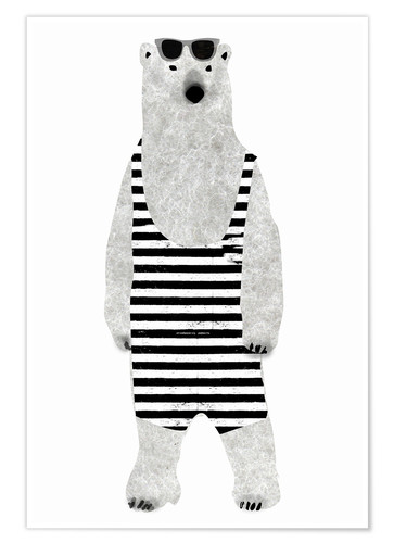 Poster Polar bear in a bathing suit
