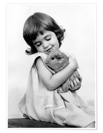 Premiumposter  Girl with guinea pig - SuperStock