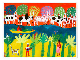 Premiumposter  Herd of cows on the Nile - Ikon Images