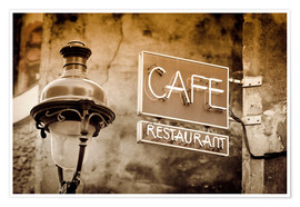 Poster  Cafe sign and lamp post, Paris, France. - age fotostock