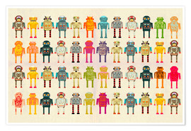 Premiumposter  Toy robots in a row - Ikon Images