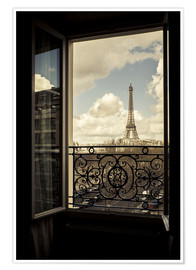 Poster  The Eiffel tower through a window - age fotostock