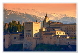 Premiumposter  Sierra Nevada and the Alhambra at sunset - age fotostock