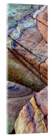 Akrylglastavla  Colorful abstract lines in sandstone rocks - Judith Zimmerman