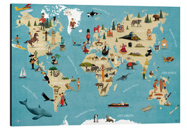 Aluminiumtavla  World map with animals (German) - coico