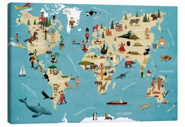Canvastavla  World map with animals (German) - coico