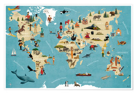 Poster  World map with animals (German) - coico