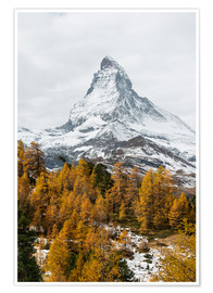 Premiumposter  Matterhorn mountain peak in autumn  View from Riffelalp, Gornergrat, Zermatt, Switzerland - Peter Wey