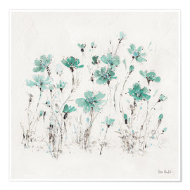 Poster Wildflowers in turquoise
