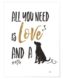 Premiumposter  All you need is love and a dog - Veronique Charron