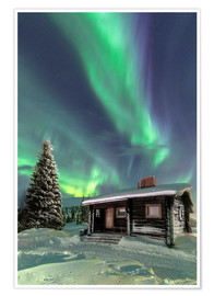 Premiumposter  Northern Lights frame a wooden hat - Roberto Sysa Moiola