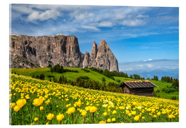 Akrylglastavla  Spring on the Alpe di Siusi in South Tyrol - Achim Thomae