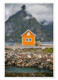 Premiumposter  The yellow fisherman's house in the Lofoten - Sören Bartosch