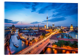 Akrylglastavla  The skyline of Berlin at night - Jan Christopher Becke