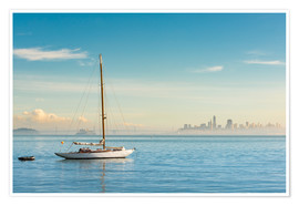 Premiumposter  Sailboat in front of San Francisco, California, USA - Markus Kapferer