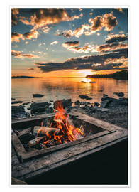 Premiumposter Campfire on the lake, Sweden
