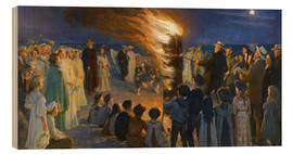 Trätavla  Midsummer night bonfires on the beach of Skagen - Peder Severin Krøyer