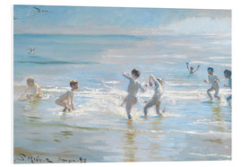 PVC-tavla  Boys bathing on a summer evening at Skagen Beach - Peder Severin Krøyer