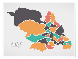 Premiumposter Sheffield city map modern abstract with round shapes