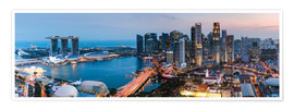 Premiumposter Singapore skyline panoramic at sunset