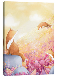 Canvastavla  Foxes and summer flowers - Rebecca Richards