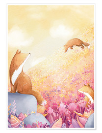Premiumposter  Foxes and summer flowers - Rebecca Richards