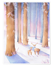Poster  Little deer in the forest - Rebecca Richards