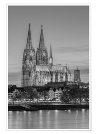 Premiumposter  Cologne Cathedral black-and-white - Michael Valjak
