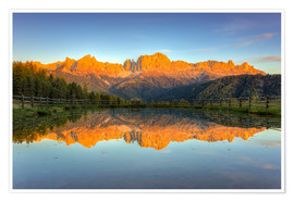 Premiumposter  Alpenglow on the rose garden in the Dolomites in South Tyrol - Michael Valjak
