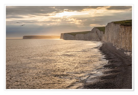 Premiumposter Chalk cliffs Seven Sisters in southern England