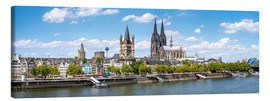 Canvastavla  Cologne Rheinufer with cathedral and town hall - Jan Christopher Becke