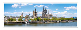 Premiumposter  Cologne Rheinufer with cathedral and town hall - Jan Christopher Becke