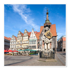 Premiumposter  Historic Market Square in Bremen with Roland Statue - Jan Christopher Becke