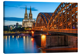 Canvastavla  Cologne Cathedral and Hohenzollern Bridge at night - Jan Christopher Becke