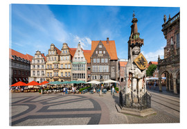 Akrylglastavla  Historic Market Square in Bremen with Roland Statue - Jan Christopher Becke