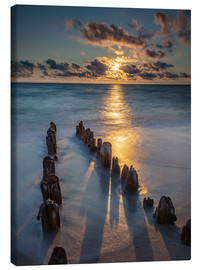 Canvastavla  Groyne on Sylt with sunset - Heiko Mundel