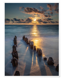 Premiumposter  Groyne on Sylt with sunset - Heiko Mundel