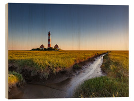 Trätavla  Lighthouse Westerhever in the evening light - Heiko Mundel