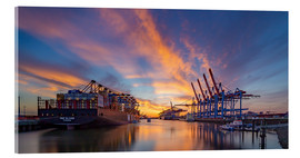 Akrylglastavla  Sunset at the container terminal Hamburg Waltershof - Heiko Mundel