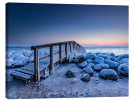 Canvastavla  Jetty on the icy Baltic Sea near Travemünde - Heiko Mundel