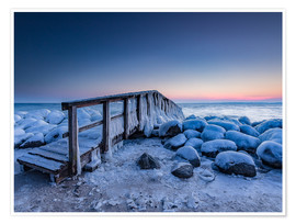 Premiumposter  Jetty on the icy Baltic Sea near Travemünde - Heiko Mundel