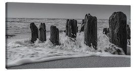 Canvastavla  Groyne with waves - Heiko Mundel