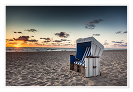 Premiumposter  Beach chair on Sylt at sunset - Heiko Mundel