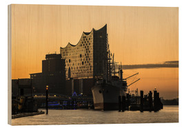 Trätavla  Morning mood at the Elbphilharmonie, Hamburg - Heiko Mundel