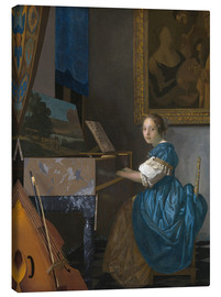 Canvastavla  young woman seated at a virginal - Jan Vermeer