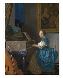 Premiumposter  young woman seated at a virginal - Jan Vermeer