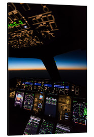 Aluminiumtavla  Airbus A380 Cockpit at twilight - Ulrich Beinert