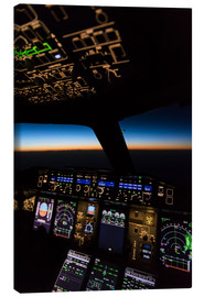 Canvastavla  Airbus A380 Cockpit at twilight - Ulrich Beinert