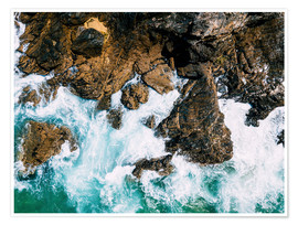 Premiumposter Dramatic Ocean Waves Crushing On Rocky Landscape
